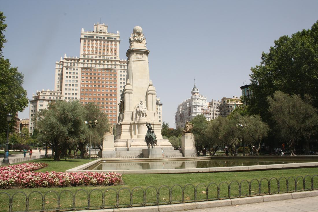 The Plaza España Square in Madrid, Spain